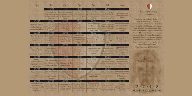 Calendário Quaresmal 2018: um propósito para cada dia!